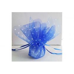 Sacchetto portaconfetti con tirante quadrato blu a pois cm 24 pz 25