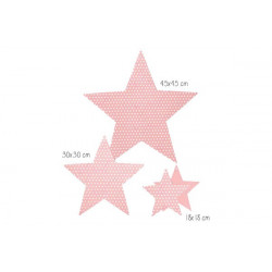 Set 3 stelle decorative colore rosa cm 18-30-45 pz 3