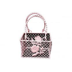Portaconfetti Segnaposto cestino con decoro fiore colore Rosa