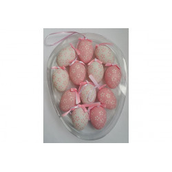 Set 12 uova 6x4cm colore rosa e bianco in PVC