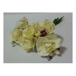 Rosa in carta con particolari cm 2 pz 6 colore bianco