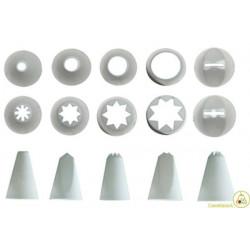 Serie di 10 cornetti o beccucci per sac-a-poche, disponibili in diverse forme: lisci, frisati