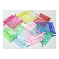 10 Sacchetti in organza pois per confetti Colori Assortiti