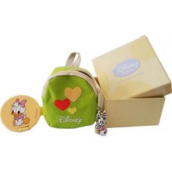 Set Zainetto Verde decoro Cuori con Ciondolo Argentato e Clip Portaciuccio Paperina Disney