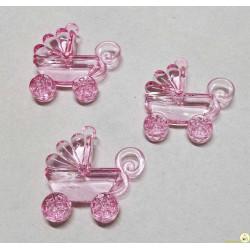 Ciondolo Carrozzina Colore Rosa Brillante 3 pz da 3,5 cm