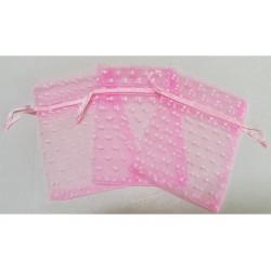 10 Sacchetti in organza pois per confetti rosa