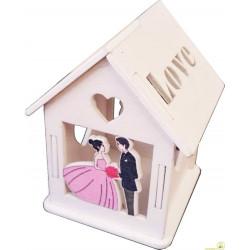 """Scatolina portaconfetti in legno """"Casetta"""" Matrimonio Bianco"""