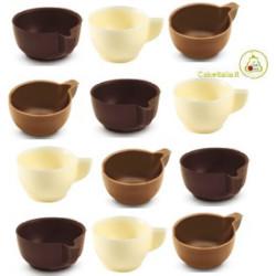 tazzine di cioccolato extra fondente cioccolato a latte e cioccolato bianco