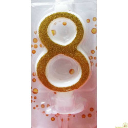Candela Glitter Oro cm 7 n° 8