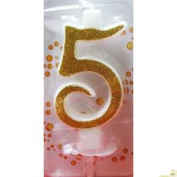 Candela Glitter Oro cm 7 n° 5