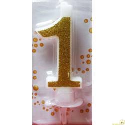 Candela Glitter Oro cm 7 n° 1