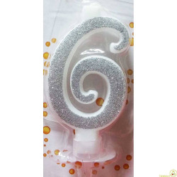 Candela Glitter Argento cm 7 n° 6