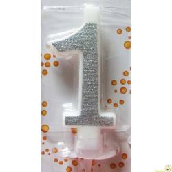 Candela Glitter Argento cm 7 n° 1