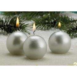 Candela a sfera cm 6 colore argento
