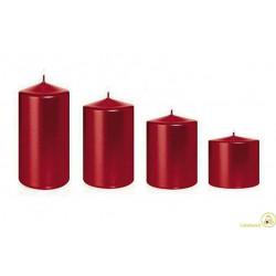 Candele natalizie a colonna rosso metallizzato 4 pz