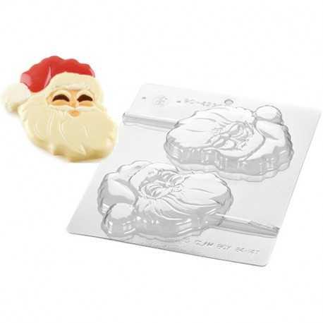 Stampo Cioccolato viso di Babbo Natale su stecco
