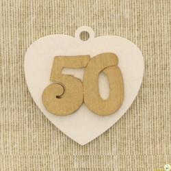Applicazione in Legno Cuore 50° Oro
