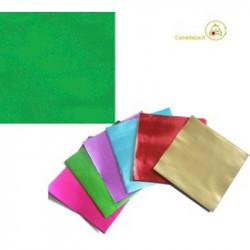 Incarti per cioccolatini Formatelli in alluminio verde lucido 10 cm x 10 cm da 50 g 120 fogli