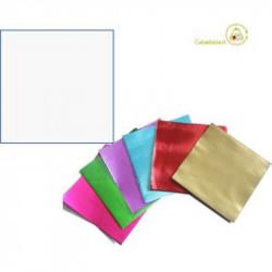 Incarti per cioccolatini Formatelli in alluminio bianco ghiaccio 10 cm x 10 cm da 50 g 120 fogli