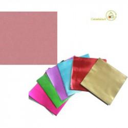 Incarti per cioccolatini Formatelli in alluminio rosa antico 10 cm x 10 cm da 50 g 120 fogli