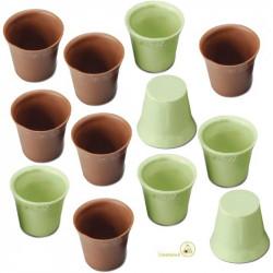 12 Cialde Bicchierini Cioccolato Verdi gusto Limone e Cioccolato al Latte