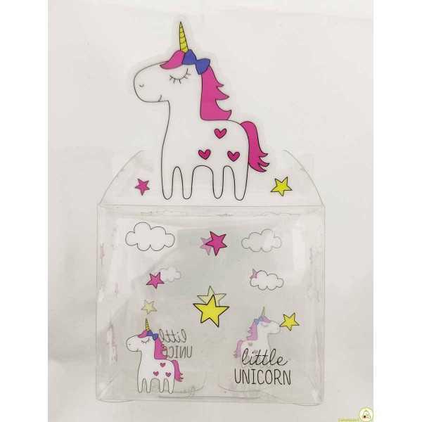 Scatola Portaconfetti Unicorno Rosa in PVC cm 7x6x4 pz 12