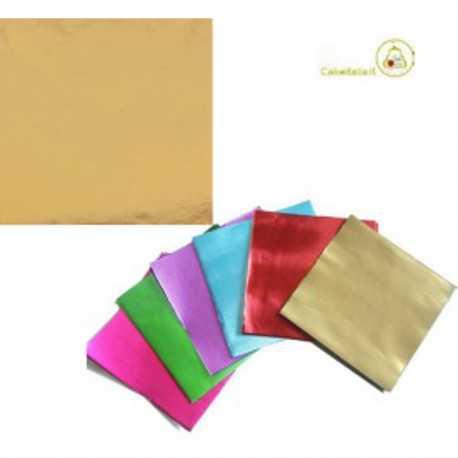 Incarti per cioccolatini Formatelli in alluminio oro 10 cm x 10 cm da 50 g 120 fogli