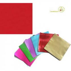 Incarti per cioccolatini Formatelli accoppiati in alluminio foderato rosso 10 cm x 10 cm da 50 g 120 fogli
