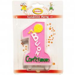 Candela Maxi Primo Compleanno Rosa cm 6x10