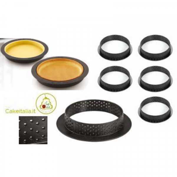 6 stampi ad anello microforati per crostatine o torte tonde tarte ring da 8 cm di silikomart