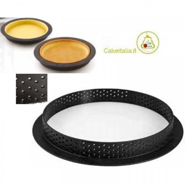 Stampo ad anello micro-forato per crostate o torte tonde tarte ring da 19 cm di Silikomart