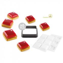 Kit Stampi 6 Crostatine Quadrate o Torte Tarte Ring Square da 8 cm