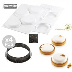 Kit Tarte Ring Round 4 Anelli microforati di 10 cm e Stampo in Silicone da Silikomart per Crostate Tonde