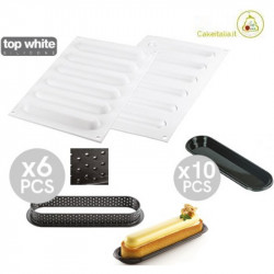 Kit Stampo 6 Anelli Oblunghi per Crostatine e Tortine o Kit Tarte Ring Oblong da 15 cm
