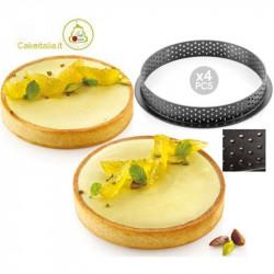 4 Stampi ad anello micro-forato per crostate o torte tonde tarte ring da 12 cm di Silikomart