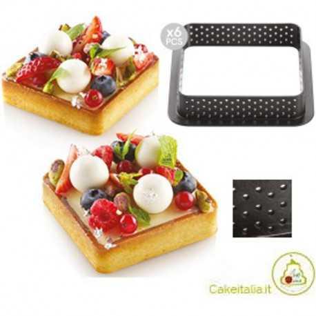 6 stampi ad anello microforati per crostatine o torte quadrate tarte ring da 8 cm di silikomart