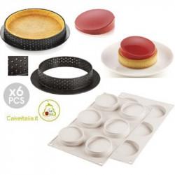 Kit Stampo 6 Anelli Tondi e Stampo per Crostatine e Tortine Glamour o Kit Mini Tarte Glam da 8 cm