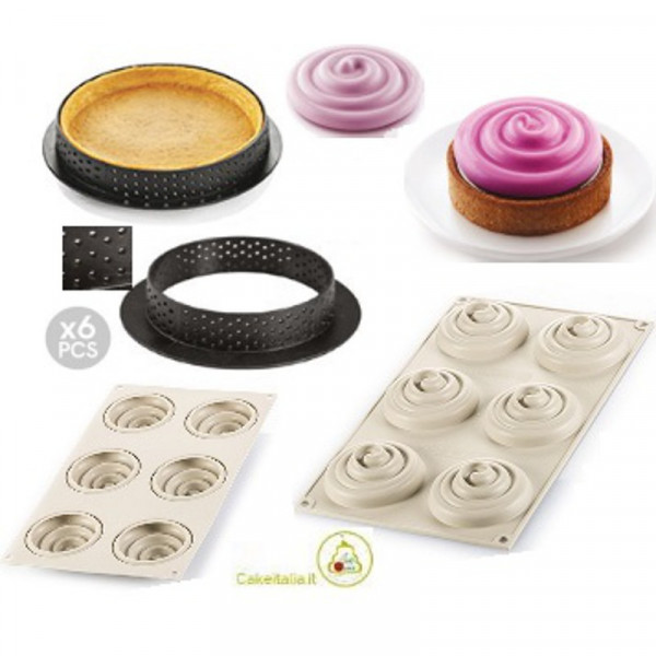 Kit Stampo 6 Anelli Tondi e Stampo per Crostatine e Tortine Twist o Kit Mini Tarte Twist da 8 cm