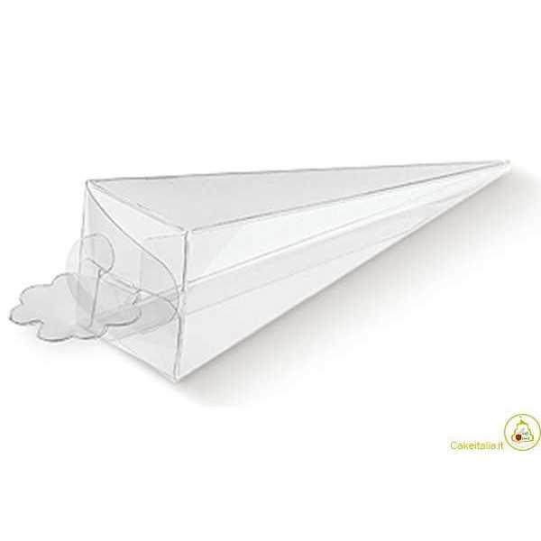Cono portaconfetti portariso trasparente in PVC 5x5x17cm 10pz