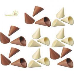 cialde coni cioccolato bianco e cialde coni finissimo cioccolato al latte