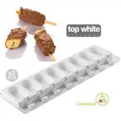 Set 2 Stampi gelato Mini Classic da Silikomart + 2 Vassoi + 100 bastoncini Stecco in legno di faggio