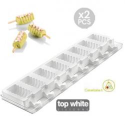 Set 2 Stampi mini gelati a Spirale o Mini Tango da Silikomart + 2 Vassoi + 100 bastoncini Stecco in legno di faggio