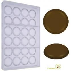 Stampo tondo diablottino cialda di cioccolato dal diametro 36 mm peso 5,5 g in policarbonato