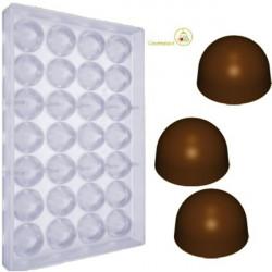 Stampo cioccolato Tondo a Cupola a forma boero diametro 28 mm peso pieno da 10 g in policarbonato
