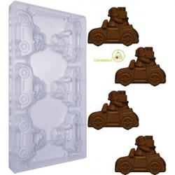Stampo policarbonato per Tavoletta di Cioccolato Auto con Babbo Natale