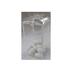 12 Scatole portaconfetti decorata Bianco in PVC 6 cm x 6 cm x 11 cm