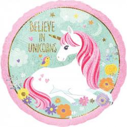 Palloncino tondo in foil satinato Unicorno Magico diametro 45 cm