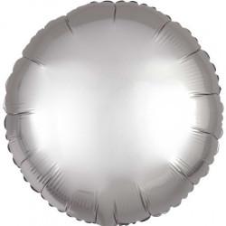 Palloncino tondo in foil satinato argento diametro 45 cm