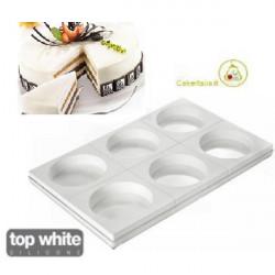 Set 6 stampi tondi round tortaflex bianchi 18 cm e 1266 ml in silicone con vassoio in ABS da 60 cm x 40 cm