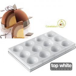 Set 12 stampi zuccotti Tortaflex Zuc bianchi in silicone da 115 mm 400 ml con vassoio 60 cm x 40 cm